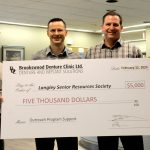 Brookswood Denture Clinic donates $5,000 to Langley Senior Resources Society
